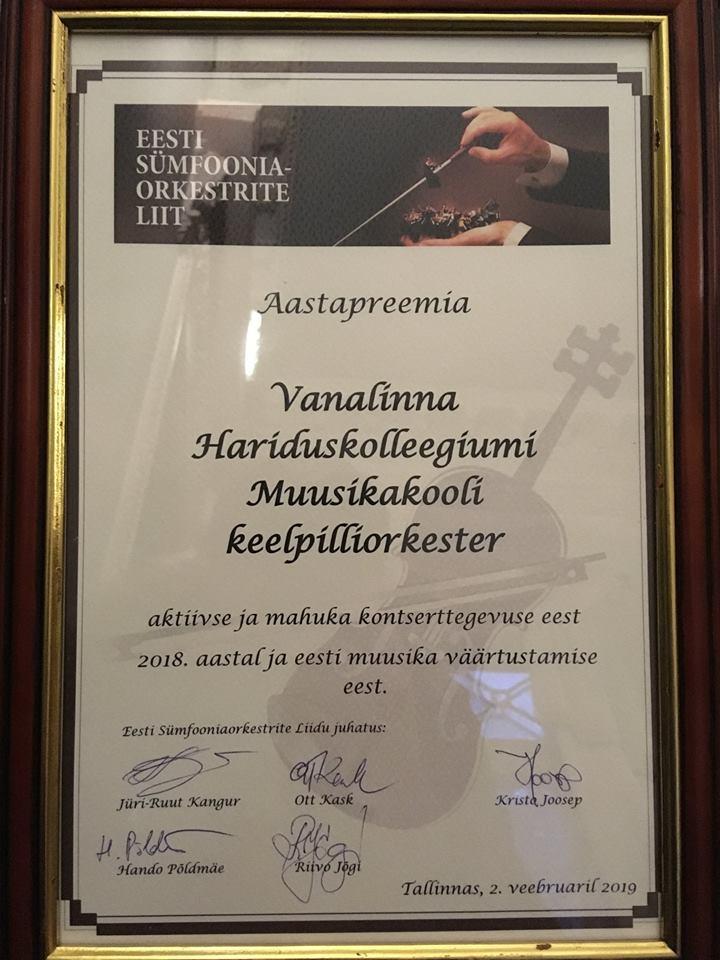 Palju õnne! Eesti Sümfooniaorkestrite Liidu aastapreemia pälvis VHK keelpilliorkester (dirigent Rasmus Puur)