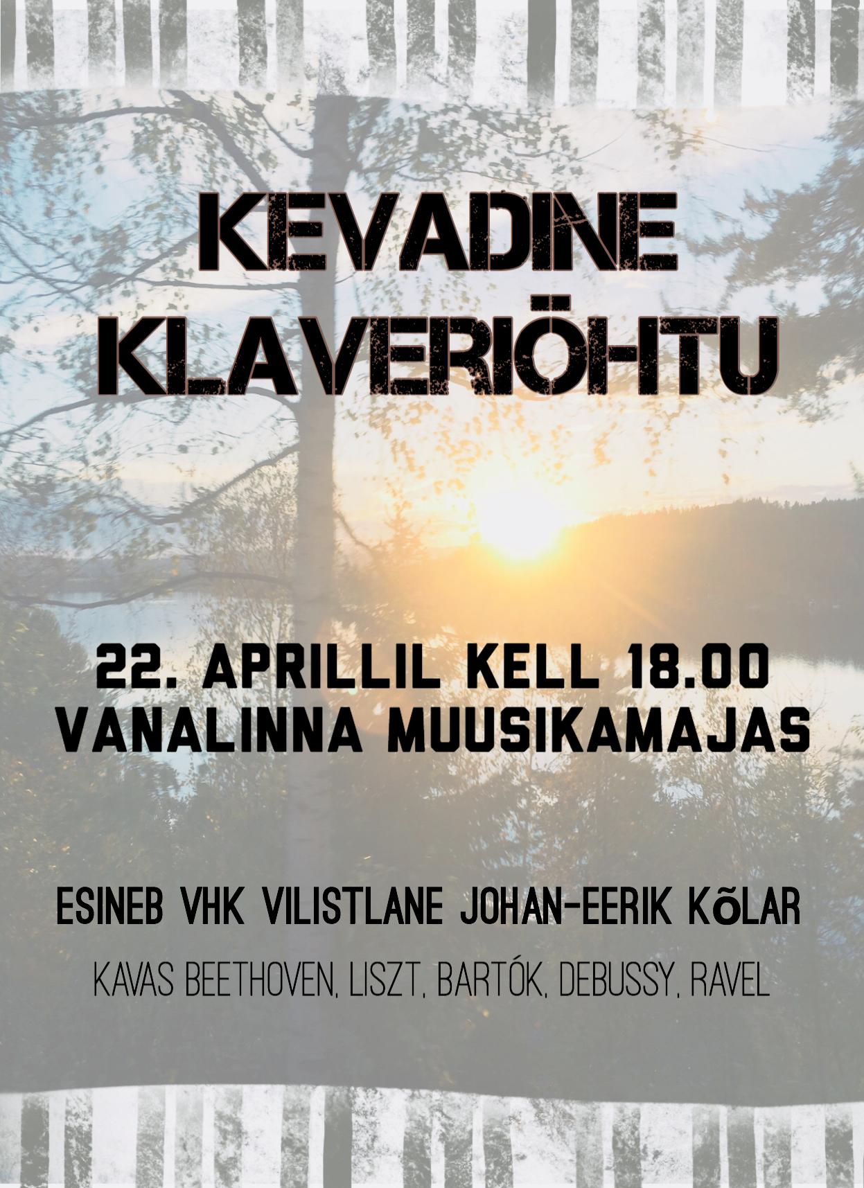 VHK vilistlase Johan-Eerik Kõlari klaveriõhtu 22. aprillil kell 18.00 Vanalinna Muusikamajas