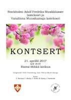 Kontsert 21. aprillil 2017 kell 18:00 Rootsi-Mihkli kirikus