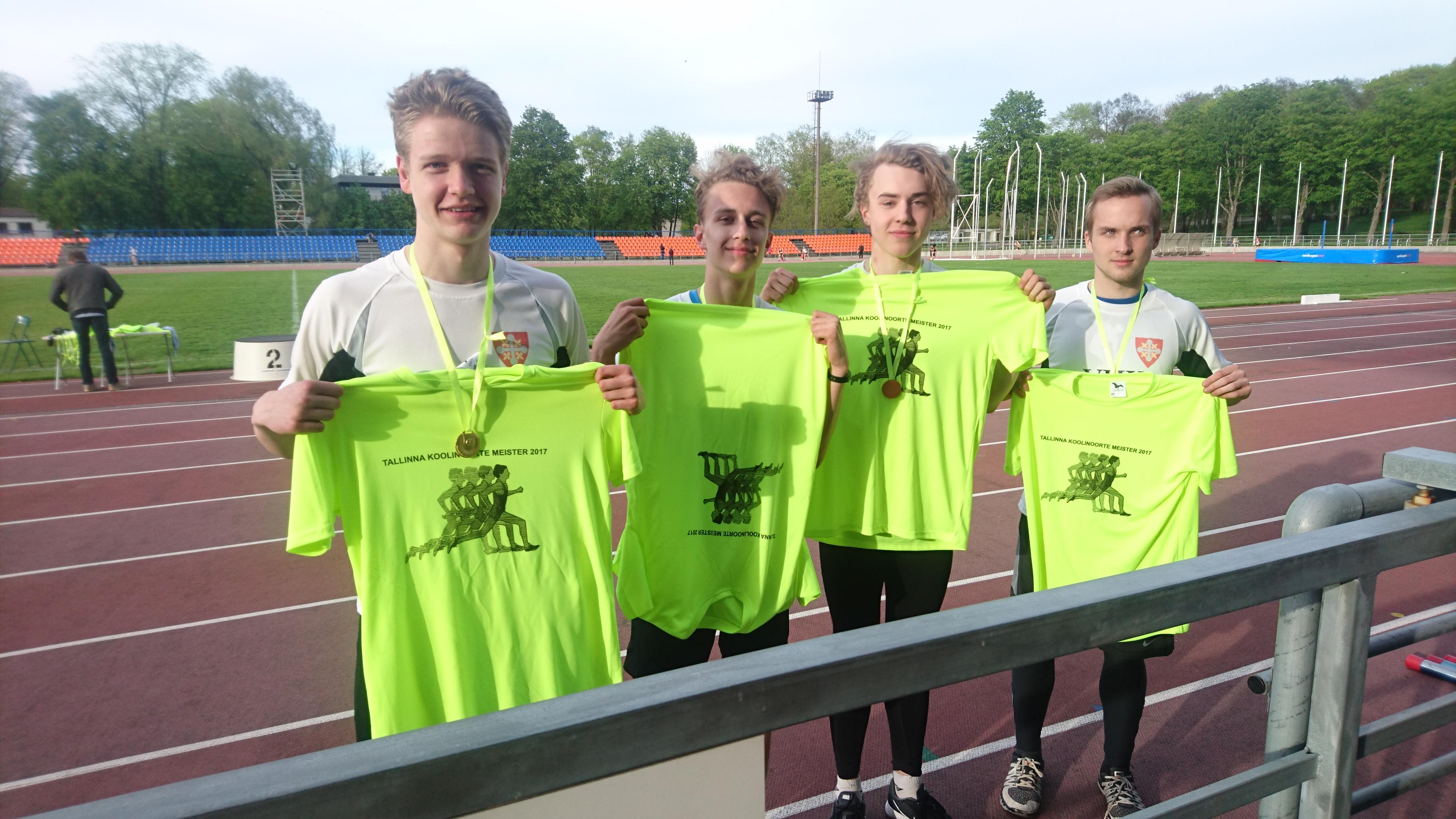 Põhikooli poisid tulid Tallinna koolinoorte meistriks 4x100 m teatejooksus ehk vägev punkt edukale koolispordiaastale!